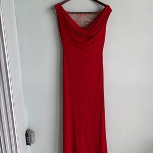 Red sequin gown with wrap Terani 14